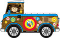Cartoon Hippie and Camper Van