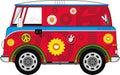 Cartoon Hippie Camper Van
