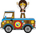 Cartoon Hippie Camper Van