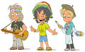 Cartoon hippie jamaican artist characters set
