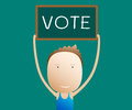 Cartoon holds a sign vote illustartion Stock Images