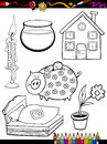 Cartoon home objects coloring page book or illustration of black and white set for children education Stock Images