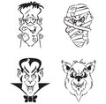 Cartoon horror heads ideal for halloween parties etc available also in format Stock Image