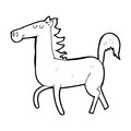 Cartoon horse black and white line in retro style vector available Stock Image
