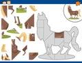 Cartoon horse jigsaw puzzle task