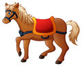 Cartoon horse with saddle Royalty Free Stock Photo