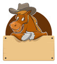 Cartoon horse with wooden board illustration of a Stock Photo