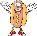 Cartoon hotdog waving illustration of a Stock Images