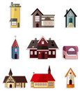Cartoon house icon set Royalty Free Stock Photo
