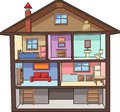 Cartoon house interior with rooms