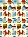 Cartoon house seamless pattern Royalty Free Stock Images