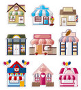 Cartoon house / shop icons collection Stock Photos