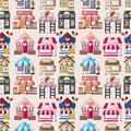 Cartoon house / shop seamless pattern Stock Photo