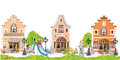 Cartoon houses with children and a playground.
