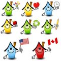 Cartoon Houses Holding Objects 2 Royalty Free Stock Image