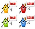 Cartoon Houses Sold Signs Stock Images
