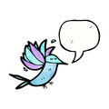 Cartoon hummingbird with speech bubble retro texture isolated on white Royalty Free Stock Images
