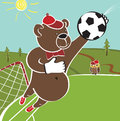 Cartoon humorous illustration brown bear plays football goalkeeper catches the ball field in the forest Royalty Free Stock Photography