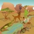 Cartoon Hunter With Bird, Wolf...