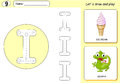 Cartoon ice cream and iguana. Alphabet tracing worksheet Royalty Free Stock Photo