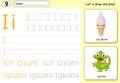 Cartoon ice cream and iguana. Alphabet tracing worksheet