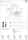 Cartoon ice cream and island. Alphabet tracing worksheet: writin Royalty Free Stock Photo