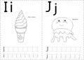 Cartoon ice cream and jellyfish. Alphabet tracing worksheet: wri Royalty Free Stock Photo
