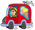 Cartoon ice cream man in car Royalty Free Stock Photo
