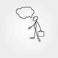Cartoon icon of sketch business man stick figure with suitcase Royalty Free Stock Photo