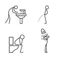 Cartoon icon of sketch stick figure doing life routine