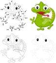 Cartoon iguana. Dot to dot game for kids Royalty Free Stock Photo