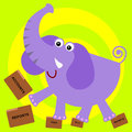 A cartoon illustartion of an elephant stepping on folders Royalty Free Stock Images