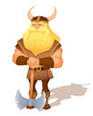 Cartoon illustration ancient viking warrior axe Stock Images