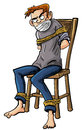 Cartoon illustration of a barefoot angry scowling young man tied to a chair with ropes around his ankles and arms isolated on Stock Photos