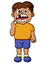 Cartoon illustration of a boy showing his missing tooth. Vector