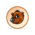 Cartoon illustration of a brown bear head mascot vector graphics Royalty Free Stock Photos