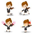 Cartoon illustration Business woman competitive