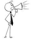 Cartoon Illustration of Businessman, Boss or Manager Talking wit