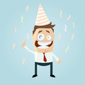 Cartoon illustration businessman party hat surrounded streamers Stock Images