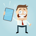 Cartoon illustration of businessman with smartphone or tablet Royalty Free Stock Photography