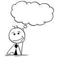 Cartoon Illustration of Businessman Thinking with Empty Speech B
