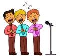 Cartoon illustration of choir men singing