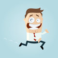 Cartoon illustration comical businessman running Royalty Free Stock Photo