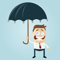 Cartoon illustration comical businessman underneath umbrella Stock Image