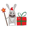 Cartoon illustration of a cool new year rabbit with star and gift Royalty Free Stock Image