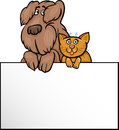 Cartoon illustration cute shaggy dog cat white card board greeting business card design Stock Photos