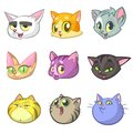 Cartoon Illustration of Different Happy Cats ot Kittens Heads Collection Set. Vector pack of colorful cats icons