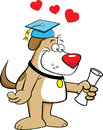 Cartoon illustration dog holding diploma Royalty Free Stock Image