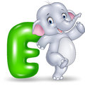Cartoon illustration of E letter for Elephant Royalty Free Stock Photo