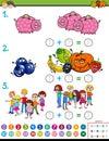 Maths addition educational game worksheet Royalty Free Stock Photo